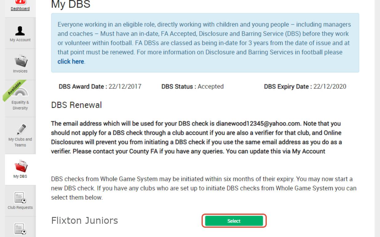 Renew DBS Message